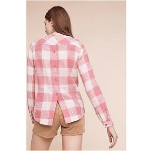 Cloth & Stone Gingham Top with Button Back Medium